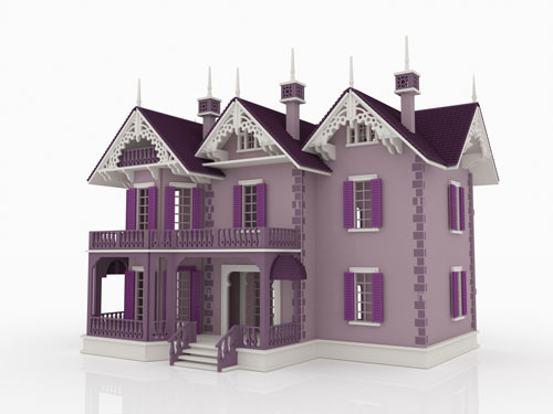 Victorian Gothic Mansion Purple Look