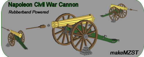 Elastic powered model cannon plans