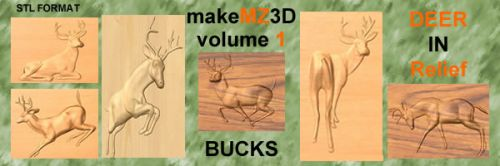 3d Deer in Relief Volume one Stags & Bucks