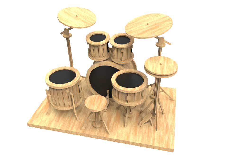 Drum Kit - Puzzles & Artistic | MakeCNC.com