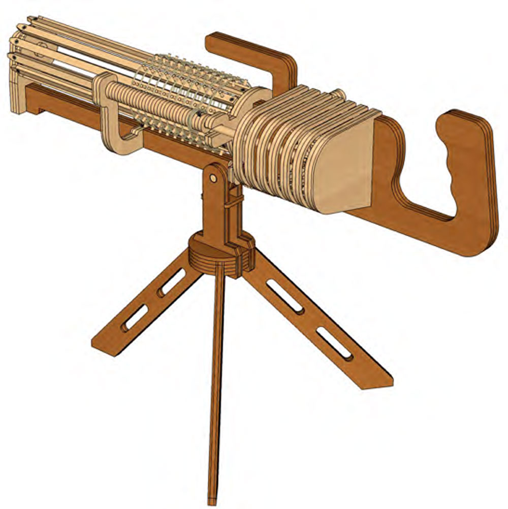 01 Rotary Crank Gatling Gun (machine Gun) - Rubberband ...