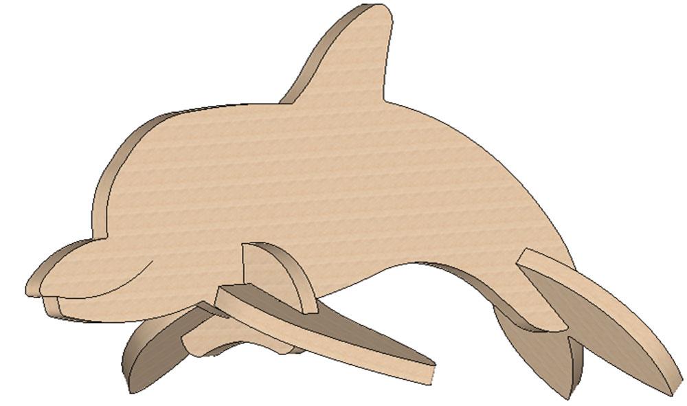 Dolphin Mini Puzzle - Mini Puzzles | MakeCNC.com