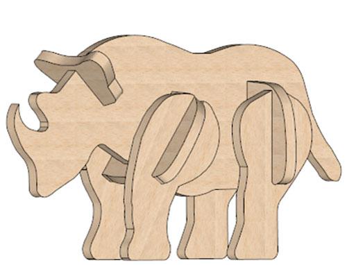 Rhino Mini Puzzle - Mini Puzzles   MakeCNC.com