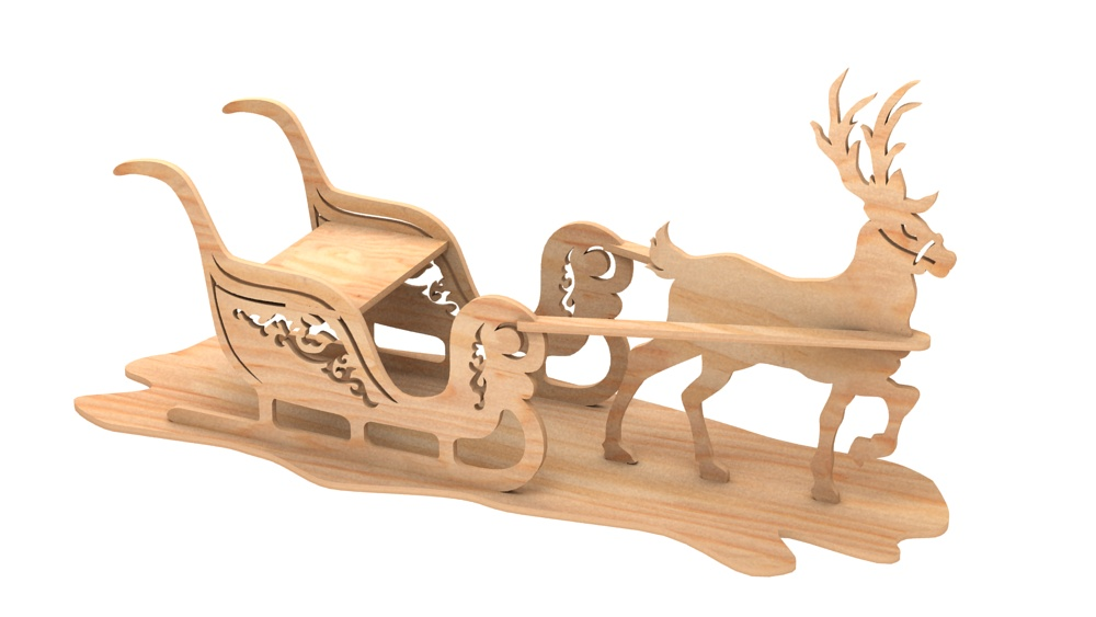 Sleigh Amp Reindeer Christmas Pattern Misc Holiday Items