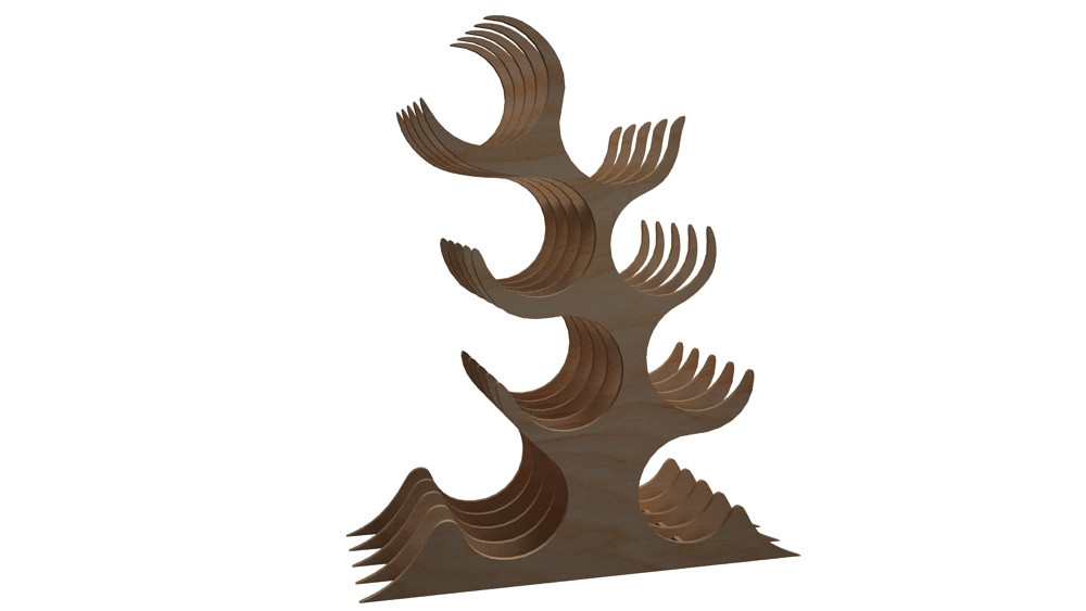 suitable for mass production Wine rack 2 Digital design design for laser CNC and CNC milling CNC file. Vector cutting plan