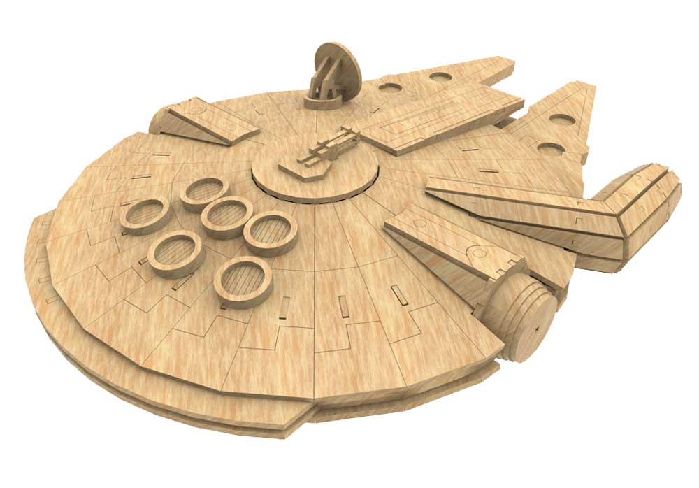 Millennium falcon star wars inspired science fiction for Puzzle cutting board plans