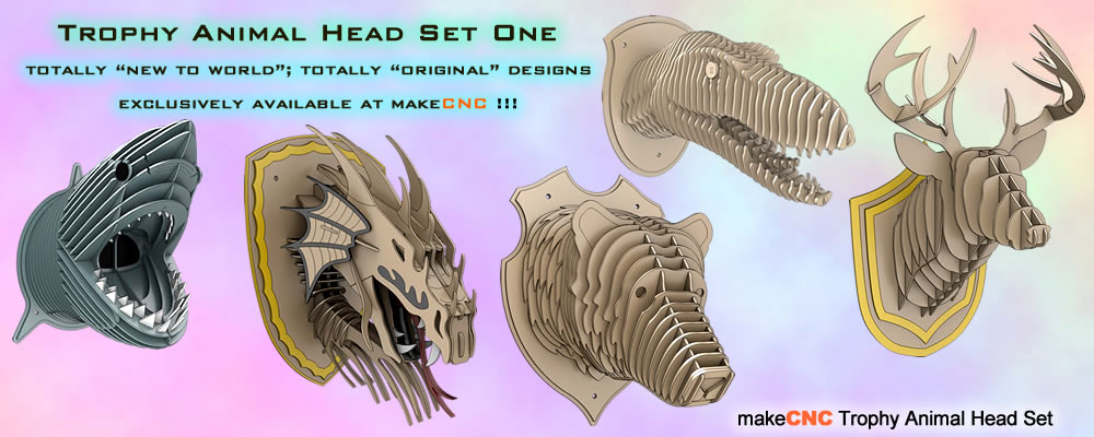 Trophy Faux Animal Heads Set One Makecnc Volume Packs
