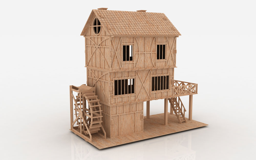 The Tudor Mill House on Wood Doll Furniture Plans
