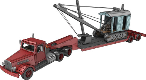 Vintage Mack Truck, Trailer & Steam Shovel Set